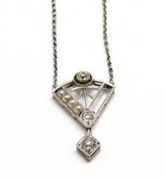 "Antique Platinum Diamond and Pearl Filagree Necklace 15 1/2"""