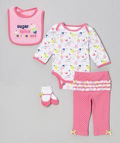 Look what I found on #zulily! Pink 'Sugar & Spice' Layette Set by Cutie Pie Baby #zulilyfinds