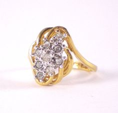 14KT Gold Electroplate Ring With Cubic Zirconia by paleorama
