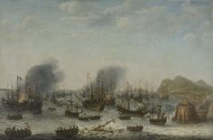 De overwinning op de Spanjaarden bij Gibraltar door een vloot onder bevel van admiraal Jacob van Heemskerck, 25 april 1607, Adam Willaerts, 1639