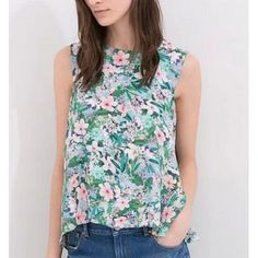 Elegant floral print green crop blouse vintage sleeveless shirt