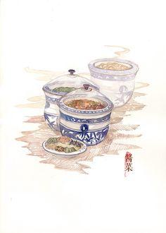 木爻  的插画 下扬州,吃东西~