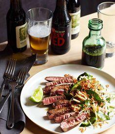 Australian Gourmet Traveller recipe for seared skirt steak, green papaya and roasted rice by Matt Stone from Greenhouse restaurant in Perth.