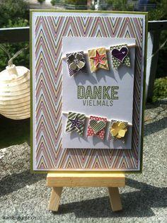 Dankeskarte / Thank you card ||| Stampin' Up! ||| Brombeermousse/Blackberry Bliss, Calypso/Calypso Coral, DSP Parkallee/Park Lane, Flüsterweiss/Whisper White, Im Fähnchenfieber/Banner Blast, In Colors 2014-2016, Olivgrün/Old Olive, Osterglocke/Daffodil Delight, Pictogram Punches, Wie du bist/Simply Wunderful, Wildleder/Soft Suede