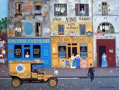 French Shops Street Scene by Michel Delacroix