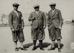 Men's knickerbockers - cut with loose legs and belted into a band that buckled just below the knees. Worn for sports. (Survey of Historic Costume)