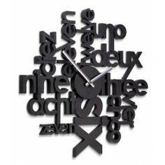 """Horloge """"LETTER LINGUA"""" design noire"""