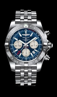Chronomat 44 GMT traveler's watch by Breitling - Steel case and Pilot bracelet with Metallica blue dial.