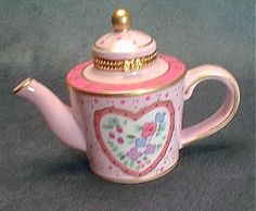 Limoges Pink Coffee Pot Trinket Box