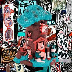 POOH - how wonderfully Winnie the Pooh's friends fraternise with Jean Dubuffet's great painting; from the series of Master Remakes canvas print 150 / 210 cm. #rolandfaesser #jeandubuffet #artbrut #pooh #collageart #contemporaryart https://faesser.com/