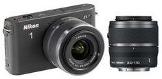 Nikon 1 J1 Mirrorless Digital Camera with 10-30mm / 30-110mm Lens (Black)