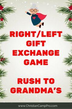 right left gift exchange game rush to grandmas Christmas Gift Exchange Games, Fun Christmas Party Games, Christmas Games For Family, Holiday Games, Christmas Gifts For Mom, Christmas Wrapping, Holiday Fun, Christmas Holidays, Xmas Games