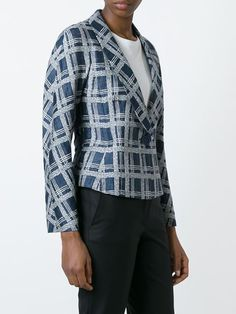 Armani Collezioni checked single button blazer