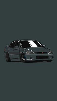 Honda Civic Sedan, Honda Civic Type R, Honda Civic 1998, Tuner Cars, Jdm Cars, Jdm Wallpaper, Street Racing Cars, Honda Cars, Car Illustration