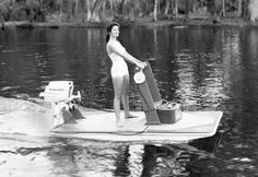 Feb. 3, 1960: The Skipjack consumer watercraft retailed for $200 and was powered by a 15 HP motor. Annette Funicello came optional. (Courtesy Mercury Outboard Motors) / SF Chris Craft Boats, Outboard Boat Motors, Mercury Marine, Mercury Outboard, Vintage Boats, Old Boats, Power Boats, Jet Ski, Ford Motor Company