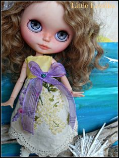 BLYTHE Doll Dress OOAK decorative dress with embroidery of roses and lavender by CooeeChris
