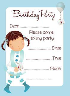 printable birthday party invitation cards