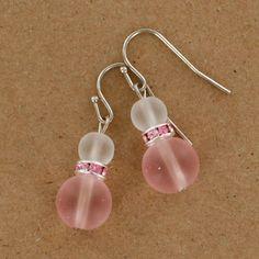 Sadie Green's Pink & White Sea Glass Earring