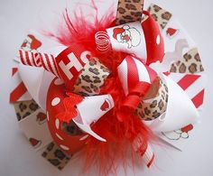 boutique FUNKY fun LEOPARD SANTA hair bow clip by andjane on Etsy, $12.99
