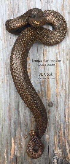 Lost-wax Bronze casting of Rattlesnake Door Handle