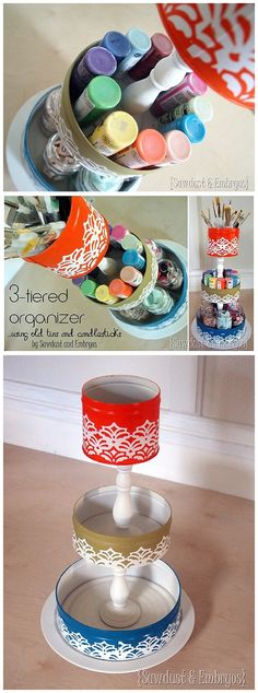3 Tiered Organizer Upcycle DIY Tutorial - it's a mini lazy suzan! {Reality Daydream}