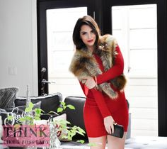 THINK LIKE A BOSS LADY, created by Lisa Tufano | Return of the Little Red Dress | Faux Fox Fur Cape and Glitter Cowl Back Red Dress from Windsor Store via http://thinklikeabosslady.com