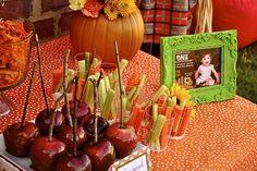 Pumpkin Patch Birthday Party - Kara's Party Ideas - The Place for All Things… Pumpkin Patch Birthday, Pumpkin Patch Party, Pumpkin Birthday Parties, Pumpkin 1st Birthdays, Halloween Birthday, Birthday Fun, First Birthday Parties, First Birthdays, Birthday Ideas