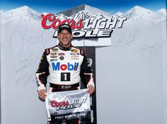 Tony Stewart, driver of the #14 Bass Pro Shops / Mobil 1 Chevrolet, poses with the Coors Light Pole Award after qualifying for pole position for the NASCAR Sprint Cup Series Duck Commander 500 at Texas Motor Speedway on April 5, 2014 in Fort Worth, Texas. http://www.pinterest.com/jr88rules/nascar-2014/ #NASCAR2014