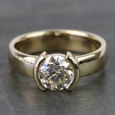 CT Half Bezel Round Near White Moissanite Engagement Ring Yellow Gold Engagement Sets, Vintage Engagement Rings, Diamond Engagement Rings, Diamond Rings, Silver Skull Ring, Blue Sapphire Rings, Black Rings, Jewelry Rings, Jewerly
