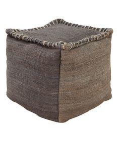 Charcoal Jute Cube Pouf | zulily