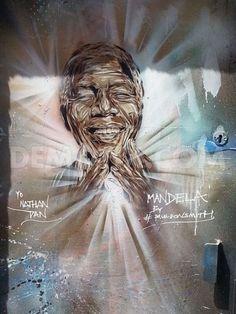 Nelson Mandela street Art shines bright in Brick Lane.