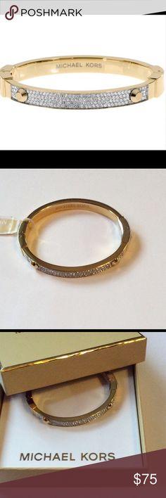 Michael Kors Pave Crystal Hinge Bracelet NWT Authentic Michael Kors Pave Crystal Hinge Bracelet.  Embellished a classic bangle with pave set glass accent. Michael Kors Jewelry Bracelets