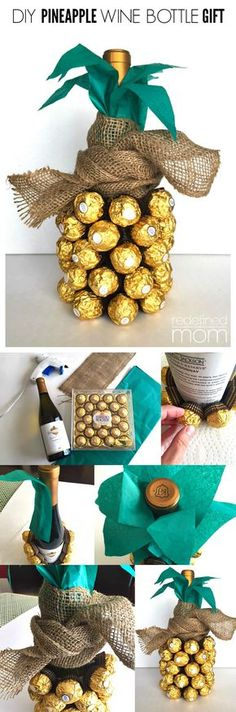 DIY Pineapple Wine Bottle Gift Tutorial The pineapple has always been a symbol of hospitality and luxury. With this DIY Pineapple Wine Bottle Gift Tutorial, you. Hostess Gifts, Holiday Gifts, Housewarming Gifts, Craft Gifts, Diy Gifts, Christmas Presents For Parents, Cadeau Parents, Wine Bottle Gift, Wine Bottles