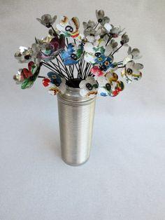 Vintage Needlework Metal Flowers Created From Vintage Tray