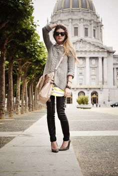 love the tunic under giant sweater.