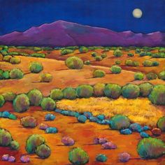 "Fine Art Giclée Print of ""Midnight Sagebrush"" by Johnathan Harris. Desert landscape of Santa Fe, New Mexico moon rise over the mountains."