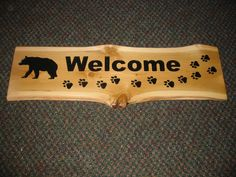 Welcome Sign with Bear and Paws
