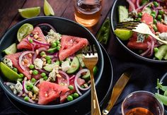 Watermelon and blue cheese salad recipe, Viva – This watermelon and pea salad makes for a great starter or to serve alongside meaty treats cooked on the barbecue Itamprsquos all about fresh seasonal produceampnbsp - Eat Well (formerly Bite) Watermelon Salad Recipes, Fresh Salad Recipes, Healthy Recipes, Blue Cheese Recipes, Blue Cheese Salad, Slow Cooked Lamb, Chocolate Mousse Recipe, Pea Salad, Mouth Watering Food