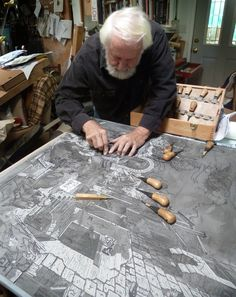 Master woodcarver, beloved SFCB instructor, and Roadworks veteran artist Rik Olson - Click the image to read the interview with Olson. Linocut Prints, Art Prints, Atelier D Art, Inspiration Art, Collagraph, Linoprint, Illustrator, Tampons, Wood Engraving
