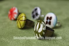 Make fabric covered button rings.  Tutorial with detailed instructions.