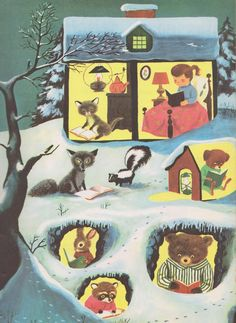 Winter night & bedtime stories... - illustration by Richard Scarry, the 'The Golden Book of 365 Stories', 1955 -- Love!