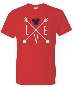 Mickey Disney Love Arrows Glitter T-shirt