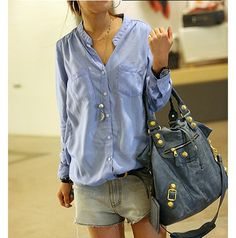 Cute Look Casual Loose-Fit Solid Color Single-Breasted Stand Collar Long Sleeves Shirt For Women Cute Blouses, Blouses For Women, Women's Blouses, Look Fashion, Fashion Outfits, Womens Fashion, Fashion Ideas, Look Con Short, Fall Shirts