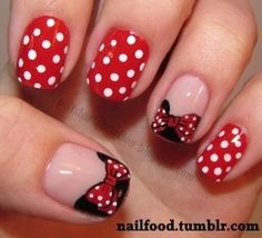 Minnie mouse inspired nails :) they're so cuuute and adorable!