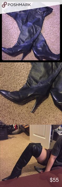 Black leather thigh high boots Soft leather, slip on thigh high boots with elastic at the top. In great condition. Size 8. I'm a 7 and it fits me great with socks Shoes Over the Knee Boots