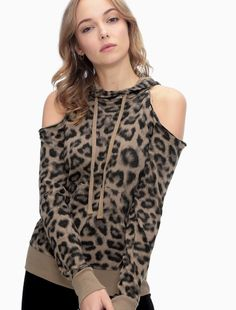 Printed Leopard Cold Shoulder Sweatshirt