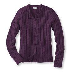 L.L.Bean Double L Sweater Cardigan Button Front Cable Women's Regular