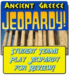 In this highly-engaging activity, students play Jeopardy to review content on Ancient Greece, Persian War, Athens, Sparta, and more!  This review game goes hand-in-hand with the Ancient Greece Unit located here:Ancient Greece Unit: 13 engaging lessons to teach Ancient Greece!
