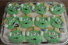 Toy Story Alien cookies with green marshmallow ears