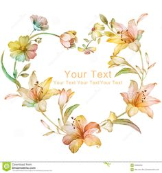 watercolor-floral-illustration-collection-flowers-arranged-un-shape-wreath-perfect-flower-decoration-as-background-50905255.jpg (1300×1390)